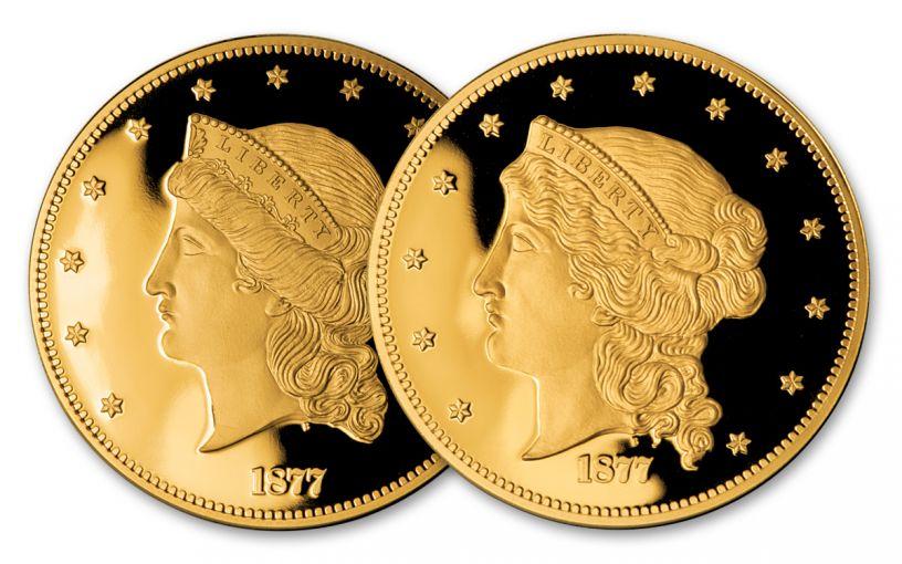 1877 Smithsonian 2.5-oz Gold Half Union Set NGC Gem Proof 2pc