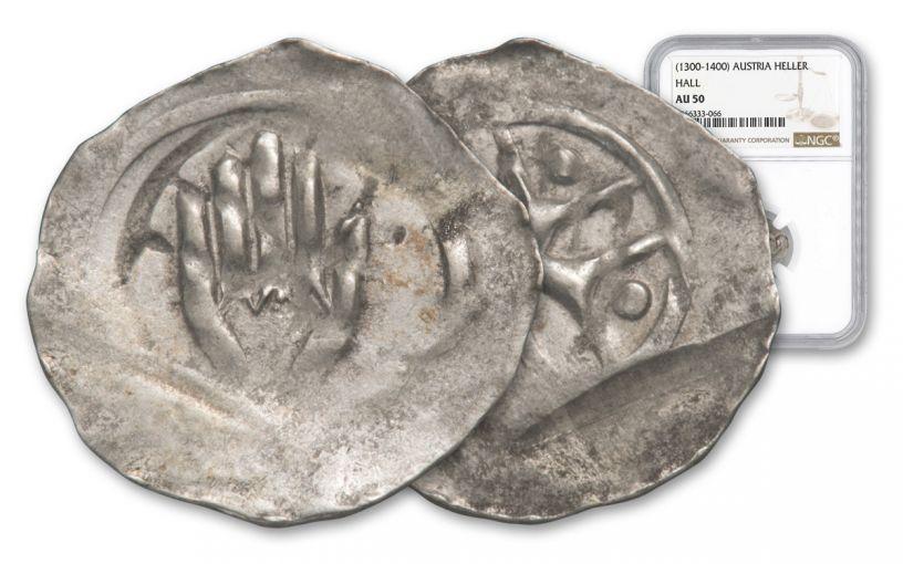1300-1400 Austria Hall Silver Hand Heller NGC AU50