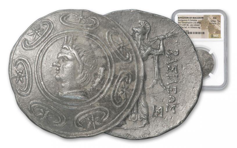 Ancient Greek Tetradrachm Antigonas II NGC AU