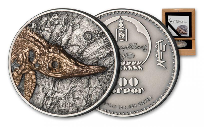 2017 Mongolia 1-oz Silver Ichthyosaur Antique Finish