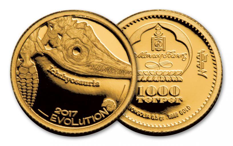 2017 Mongolia 1/2 Gram Gold EOL Ichthyosaur Proof