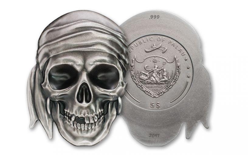 2017 Palau $5 1-oz Silver Pirate Skull Brilliant Uncirculated