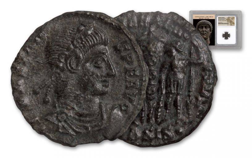 Ancient Roman Bronze Constans NGC AU