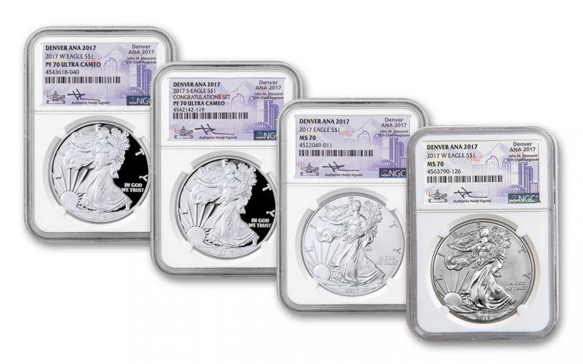 2017 1 Dollar 1-oz Silver Eagle NGC Denver ANA Mercanti Signed 4-pc Set