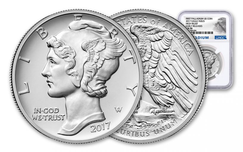 2017-P 25 Dollar 1-oz Palladium American Eagle High-Relief NGC MS70 Early Release Palladium Label