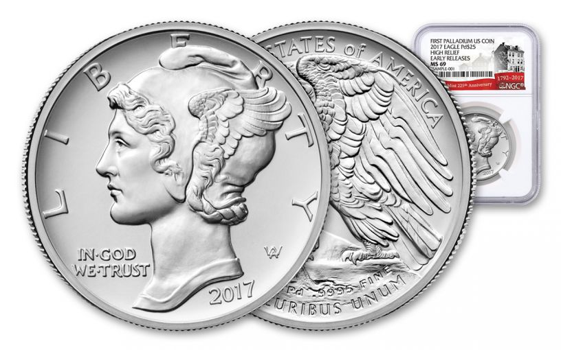 2017-P 25 Dollar 1-oz Palladium American Eagle High-Relief NGC MS69 Early Release 225th Anniversary