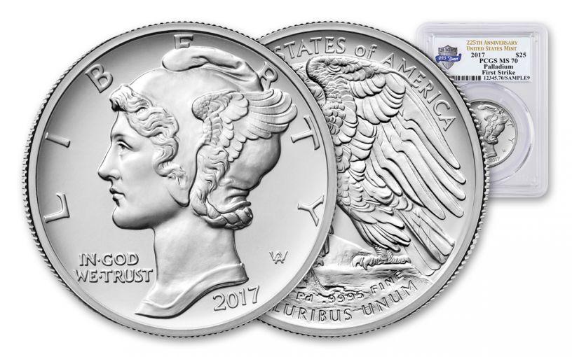 2017-P 25 Dollar 1-oz Palladium American Eagle High-Relief PCGS MS70 First Strike 225th Anniversary