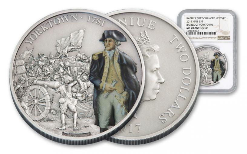 2017 Niue 2 Dollar 1-oz Silver Battle of Yorktown Antique NGC PF70