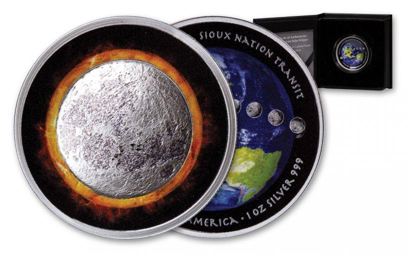 2017 Oglala Lakota Sioux 1 Dollar 1-oz Silver Solar Eclipse Proof