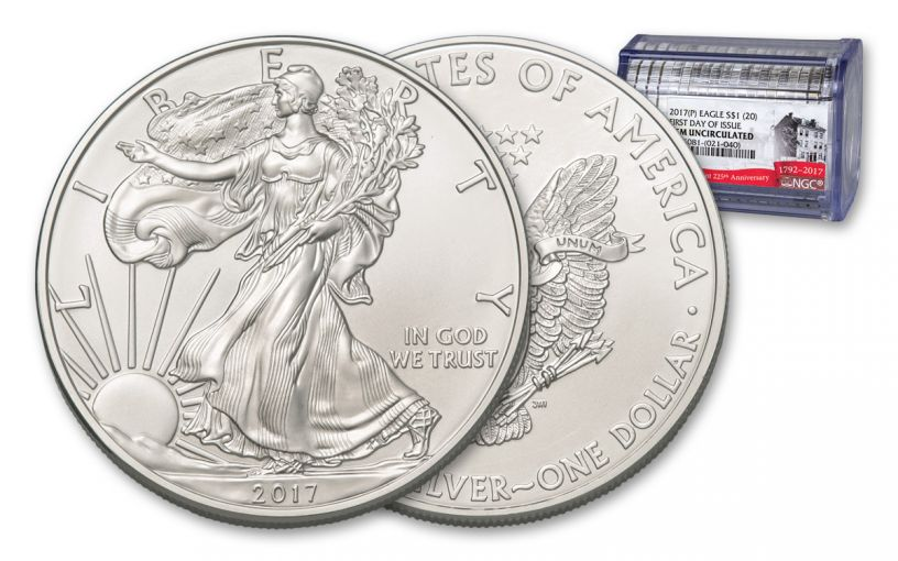 2017-P 1 Dollar 1-oz Silver Eagle Gem First Day of Issue 20-Coin Roll