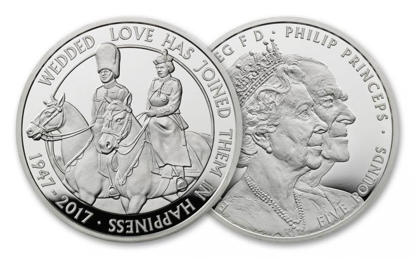 2017 Great Britain 5 Pound Silver 70th Wedding Anniversary Piedfort Proof OGP