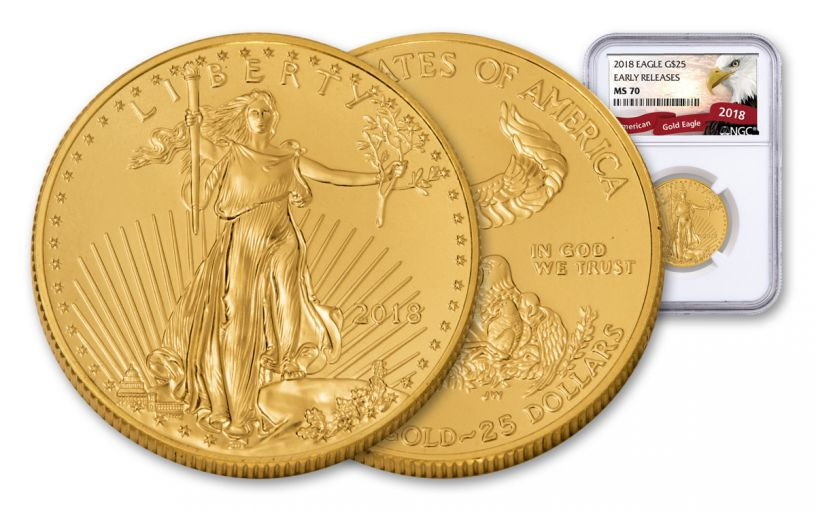 2018 25 Dollar 1/2-oz Gold Eagle NGC MS70 Early Releases Eagle Label