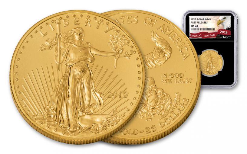 2018 25 Dollar 1/2-oz Gold Eagle NGC MS69 First Releases Eagle Label - Black