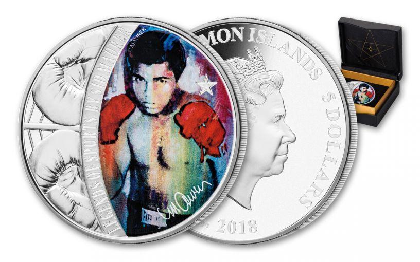 2018 Solomon Islands 5 Dollar 1-oz Silver Muhammad Ali Colored Proof