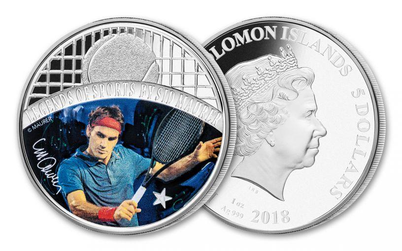 2018 $5 1-oz Silver Sid Maurer - Legends of Sports Roger Federer Colorized Proof