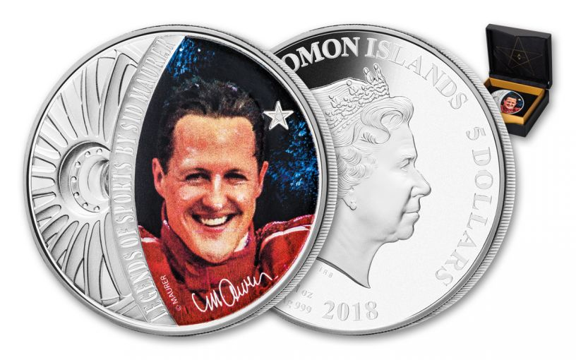 2018 $5 1-oz Silver Sid Maurer - Legends of Sports Michael Schumacher Colorized Proof
