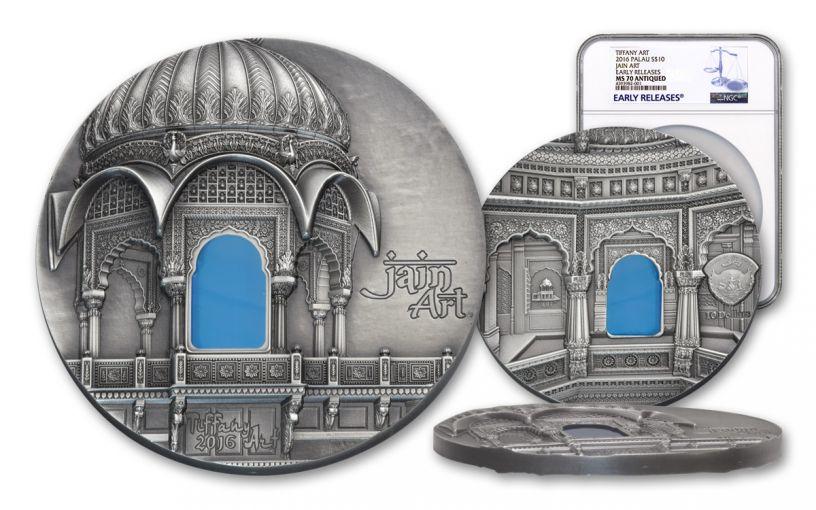 2016 Palau 10 Dollar 2-oz Silver Tiffany Jain NGC MS70 Early Releases