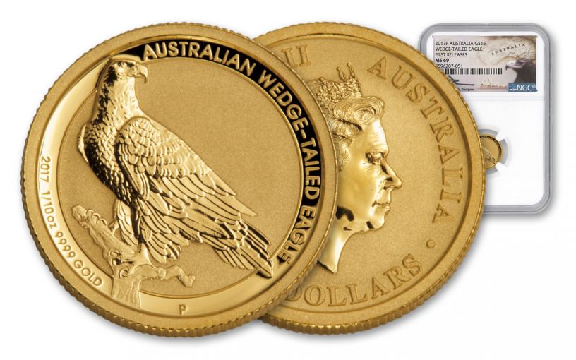 2017 Australia 1/10-oz Gold Wedge Tailed Eagle NGC MS69 First Releases - Mercanti Signed