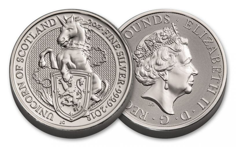 2018 Great Britain 1-oz 5 Pound Silver Queen's Beasts Unicorn Uncirculated