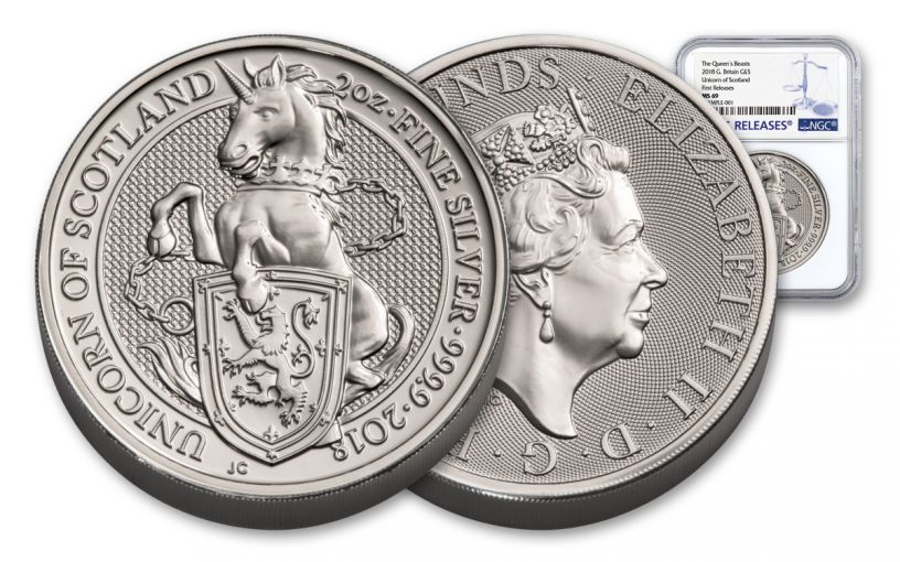 2018 Great Britain 2-oz 5 Pound Silver Queen's Beasts Unicorn MS69- First Releases