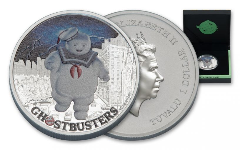 2017 Tuvalu 1 Dollar 1-oz Silver Ghostbusters Stay Puft Proof