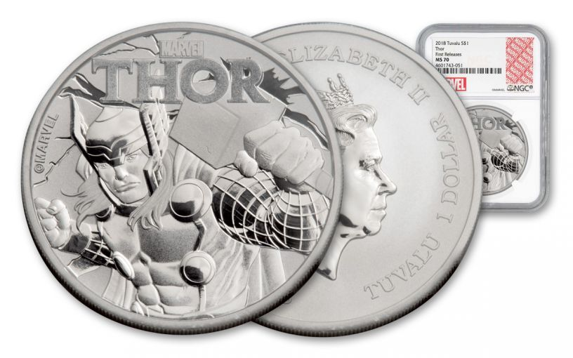 2018 Tuvalu 1-oz Silver Thor NGC MS70 First Releases