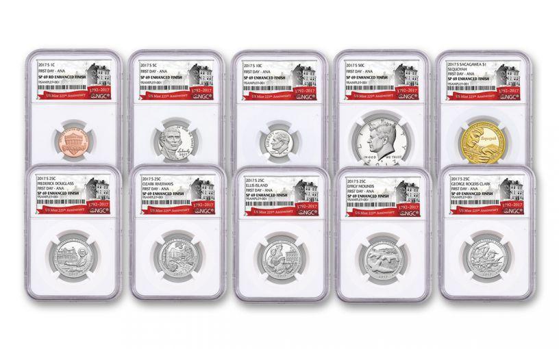 2017 U.S. Mint 225th Anniversary Enhanced Uncirculated Coin Set NGC SP69 FDI ANA