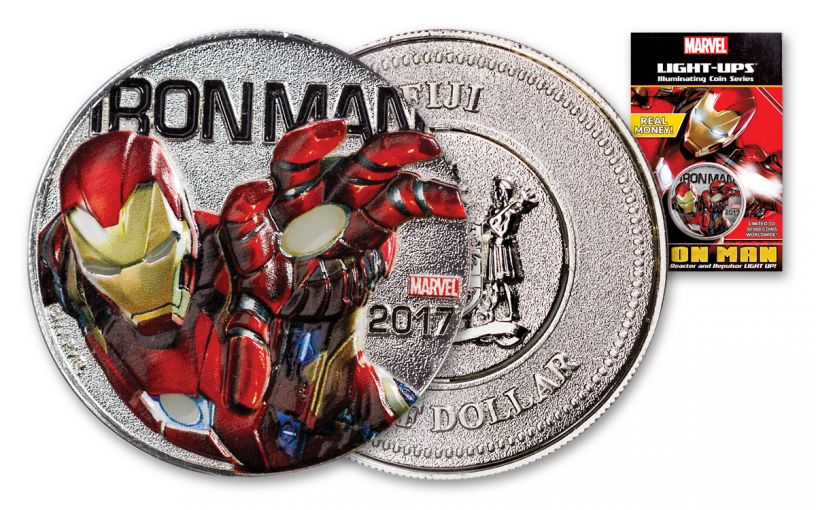 2017 Fiji 50 Cent Iron Man Light Up Specimen