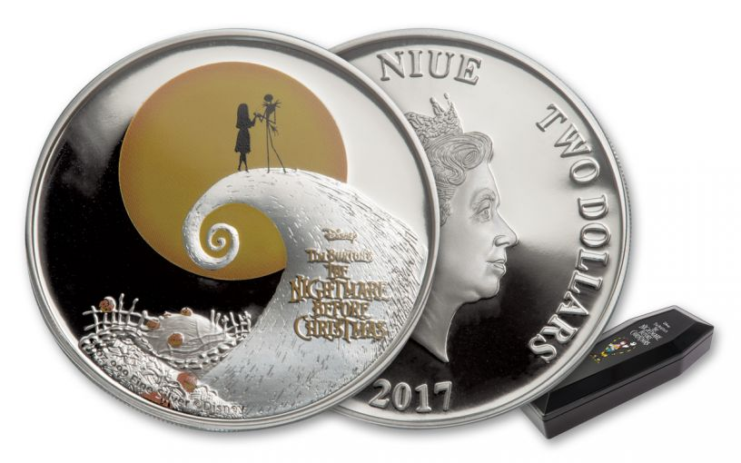 2017 Niue 2 Dollar 1-oz Silver Nightmare Before Christmas Proof