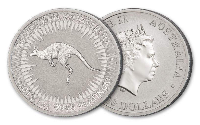 2018 Australia 100 Dollar 1-oz Platinum Kangaroo Brilliant Uncirculated
