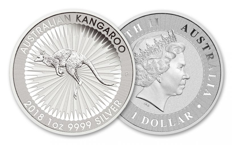 2018 Australia 1 Dollar 1-oz Silver Kangaroo Brilliant Uncirculated