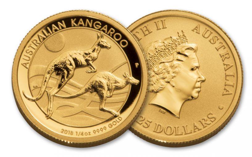 2018 Australia 25 Dollar 1/4-oz Gold Kangaroo Brilliant Uncirculated