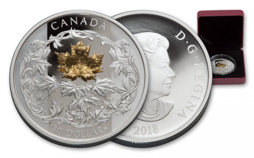 2018 Canada 30 Dollar 2-oz Silver Golden Maple Leaf Proof
