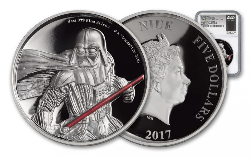 2017 Niue $5 2-oz Silver Darth Vader Ultra High Relief NGC PF69UCAM First Releases