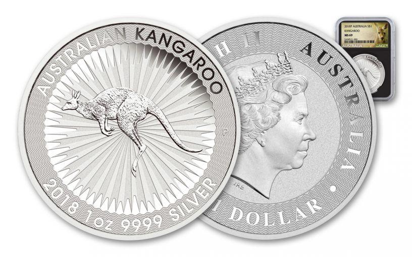 2018 Australia 1 Dollar 1-oz Silver Kangaroo Bullion NGC MS69 - Black