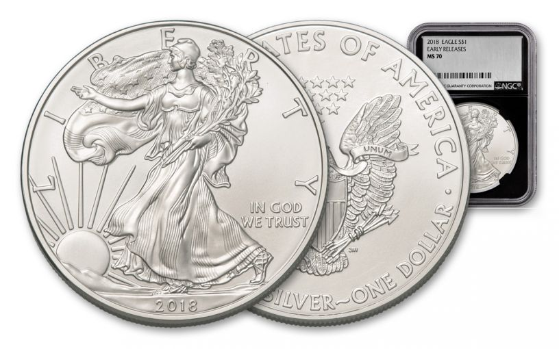 2018 1 Dollar 1-oz Silver Eagle NGC MS70 Early Releases Silver Foil Label - Black