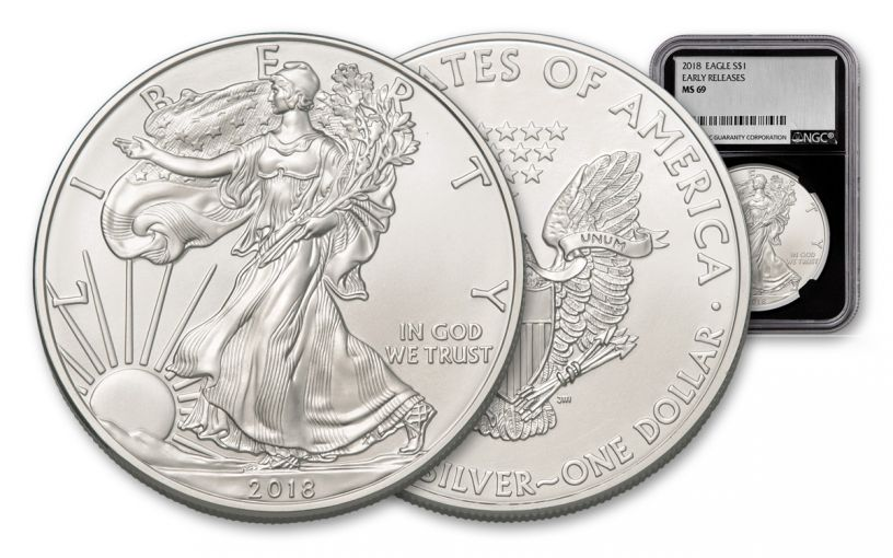 2018 1 Dollar 1-oz Silver Eagle NGC MS69 Early Releases Silver Foil Label - Black