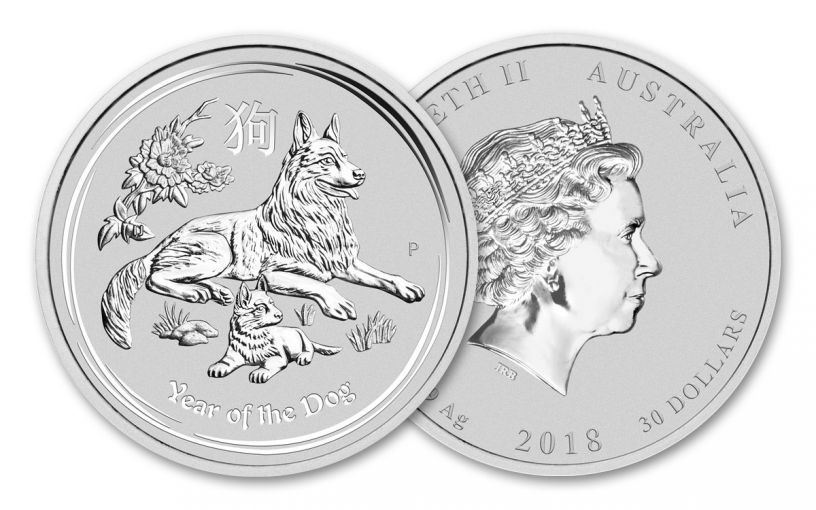 2018 Australia $30 Kilo Silver Year of the Dog Shepherd Proof