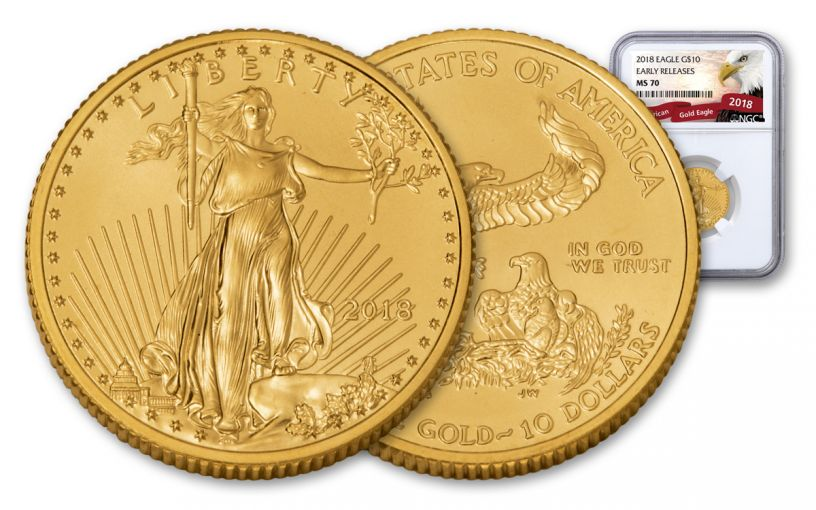2018 10 Dollar 1/4-oz Gold Eagle NGC MS70 Early Release