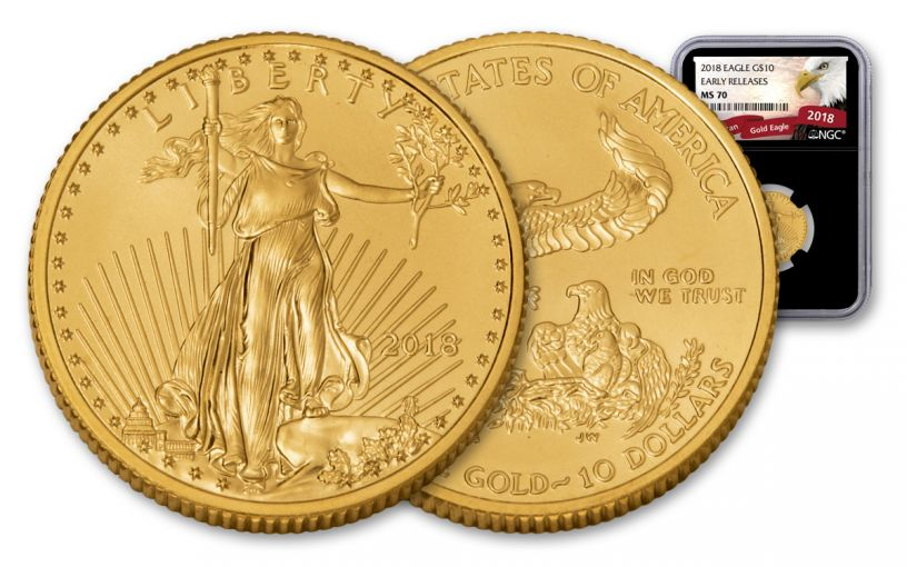 2018 10 Dollar 1/4-oz Gold Eagle NGC MS70 Early Releases Eagle Label - Black