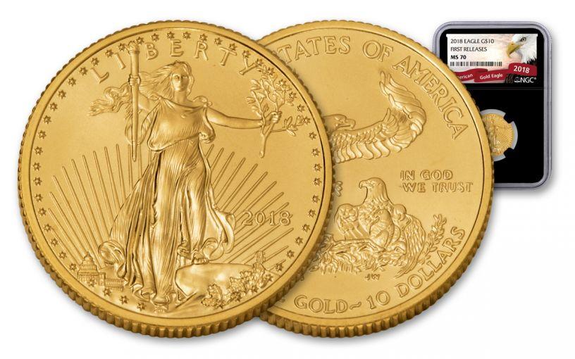 2018 10 Dollar 1/4-oz Gold Eagle NGC MS70 First Releases Eagle Label - Black