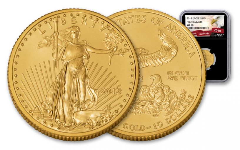 2018 10 Dollar 1/4-oz Gold Eagle NGC MS69 First Releases Eagle Label - Black