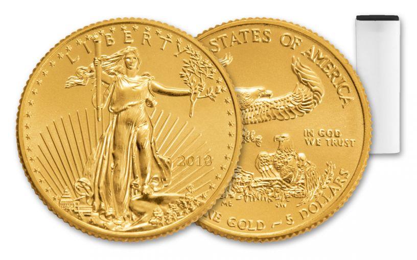 2018 5 Dollar 1/10-oz Gold Eagle Roll BU 50-Coin Roll