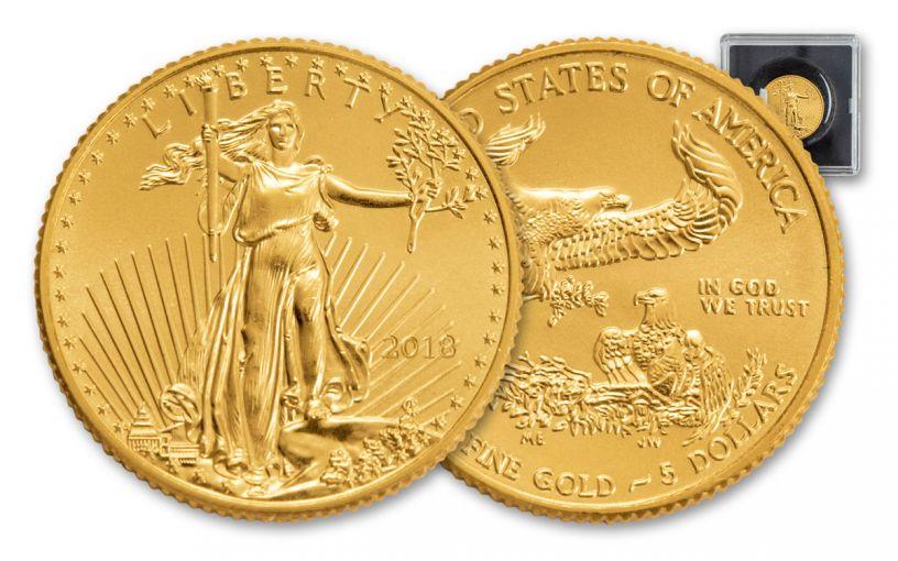 2018 5 Dollar 1/10-oz Gold Eagle BU - Magnified Holder