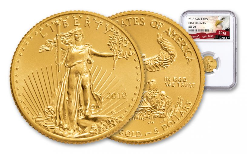 2018 5 Dollar 1/10-oz Gold Eagle NGC MS70 First Releases Eagle Label