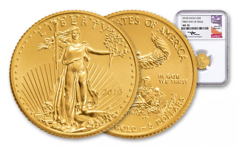 2018 5 Dollar 1/10-oz Gold Eagle NGC MS70 First Day Of Issue Mercanti Signed