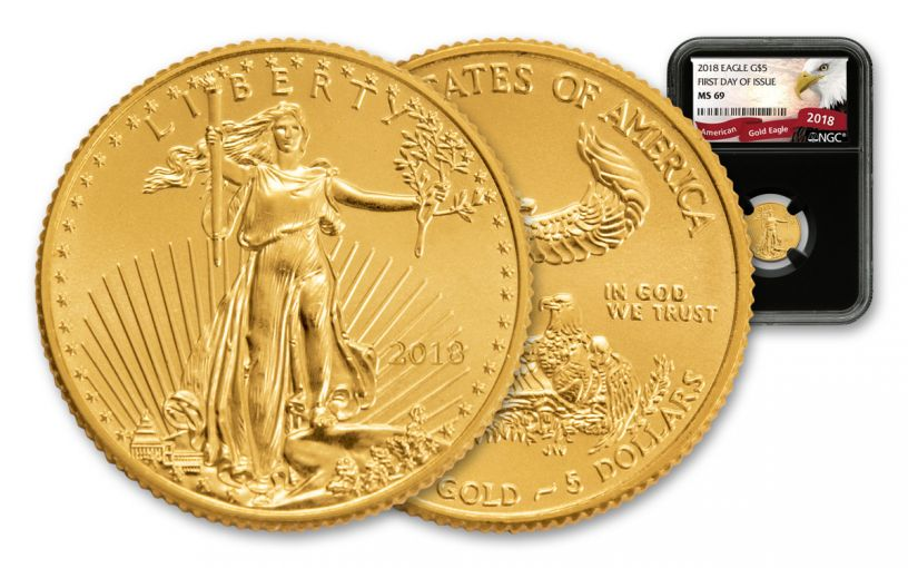 2018 5 Dollar 1/10-oz Gold Eagle NGC MS69 First Day Of Issue Eagle Label - Black