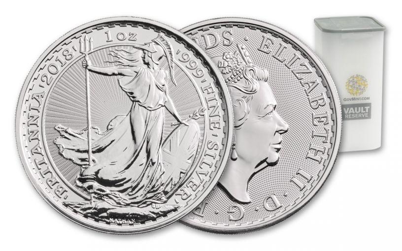 2018 Great Britain 2 Pound 1-oz Silver Britannia Uncirculated Vault Reserve