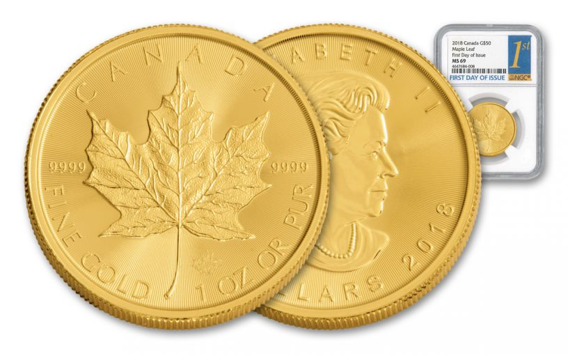 2018 Canada 1-oz Gold Maple Leaf NGC MS69 First Day Of Issue