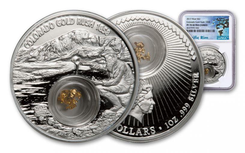 2017 Niue 2 Dollar 1-oz Silver Colorado Gold Rush NGC PF70UCAM